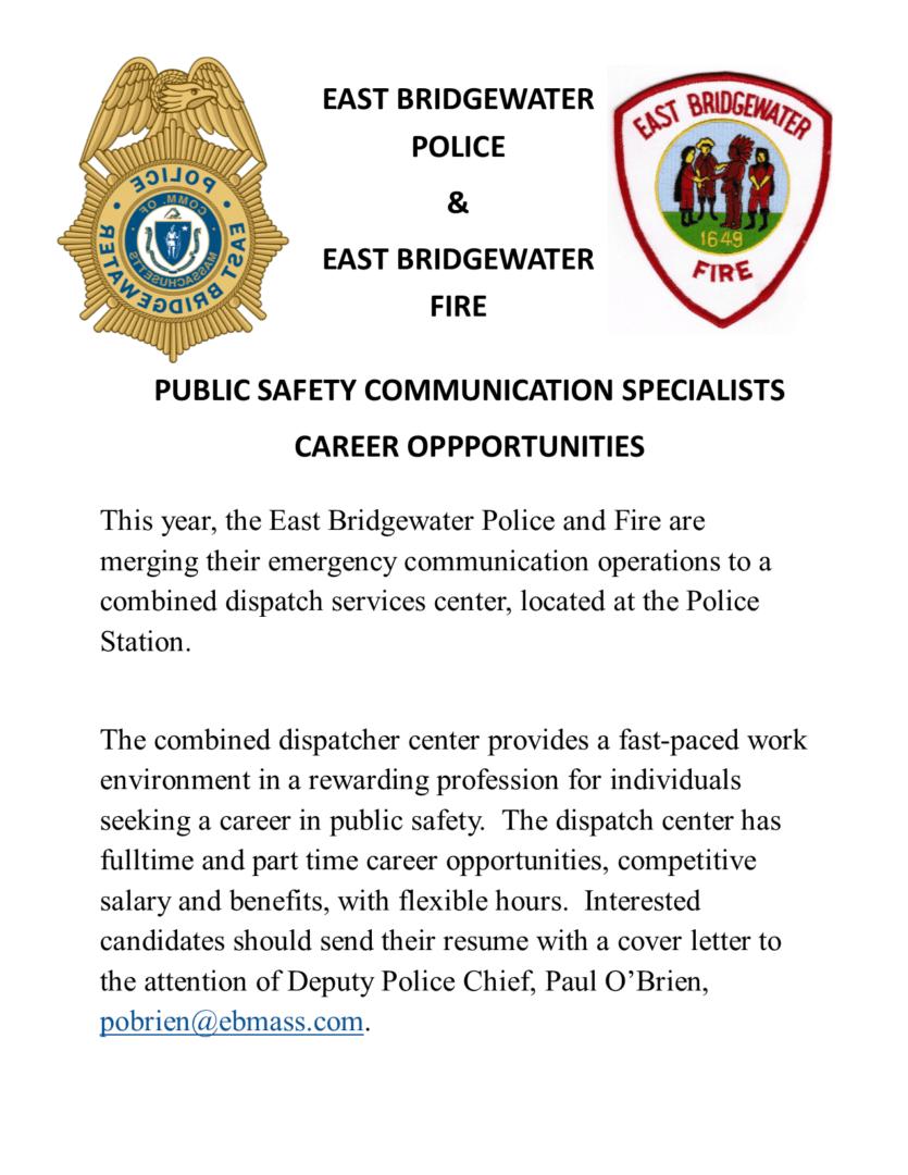 East Bridgewater Police & Fire Combined Dispatcher Job