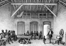 Representação do Ft. São Jorge da Mina, em Gana, de onde partiam escravos vendidos pelos reis negros para o Brasil (Debret)