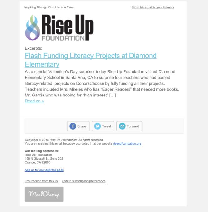 Rise Up Newsletter