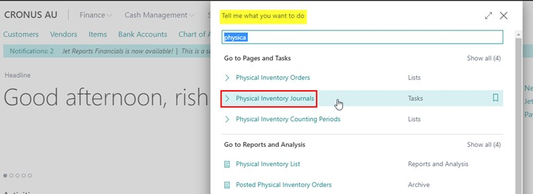 Physical inventory journal in basic warehouse stocktake