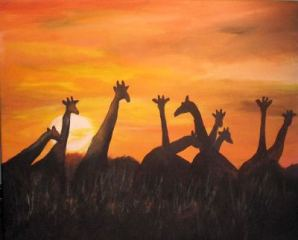 Giraffe Sunset by Dia Spriggs