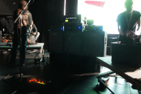Setting up Henrik's rig for Dirty Loops on the Agora Stage.