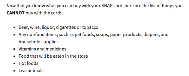 """List of foods you cannot buy with food stamps"""