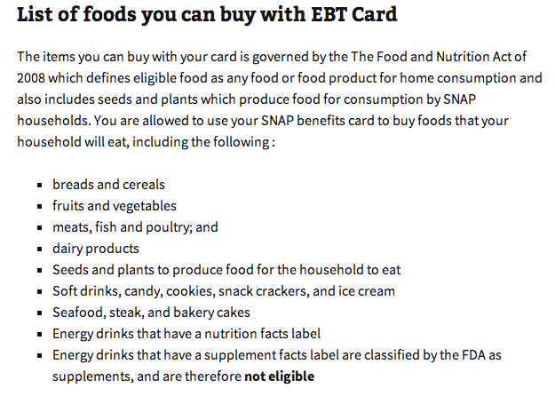 """list of foods you can buy with EBT Card"""