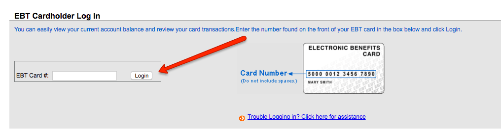 Login to www ebtEDGE com and view EBT Account