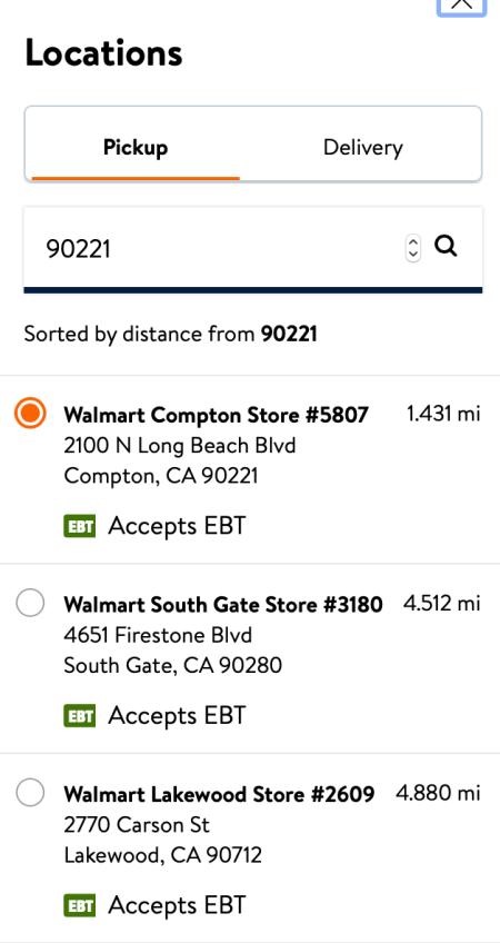 Walmart EBT Order for Pickup
