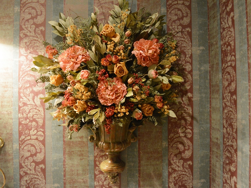 Wall Pocket Sconce with Dried Floral Arrangement | EBTH on Wall Sconce Floral Arrangements Arrangement id=21317