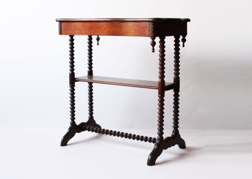 Late Victorian Walnut Hall Table With Bobbin Turned Legs