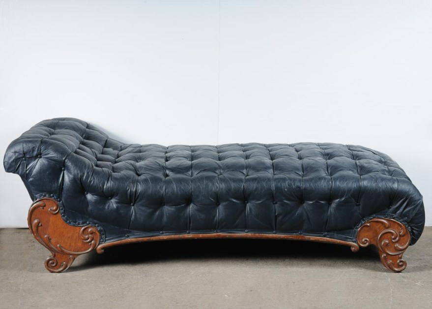 midnight blue faux leather chaise lounge