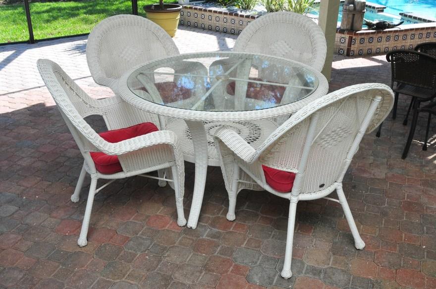 hampton bay white wicker patio set