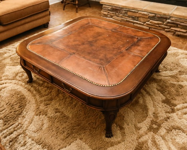 henredon leather top coffee table : ebth
