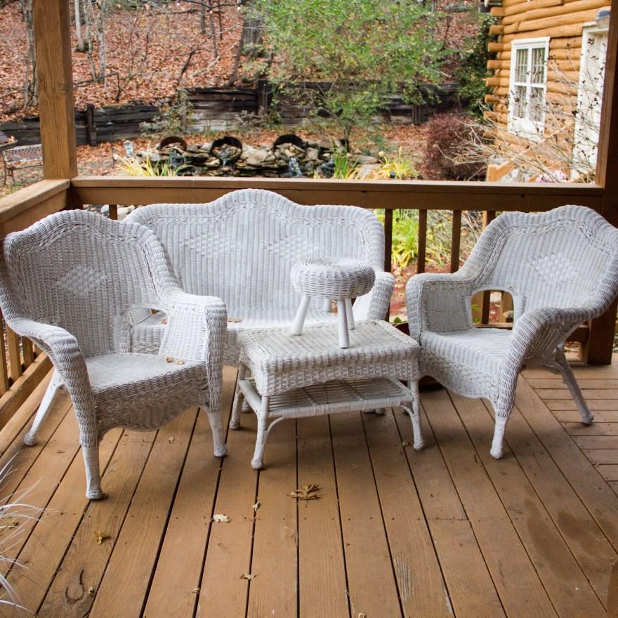 white wicker patio furniture White Wicker Patio Furniture Set : EBTH