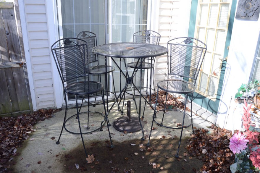 wrought iron high top patio set