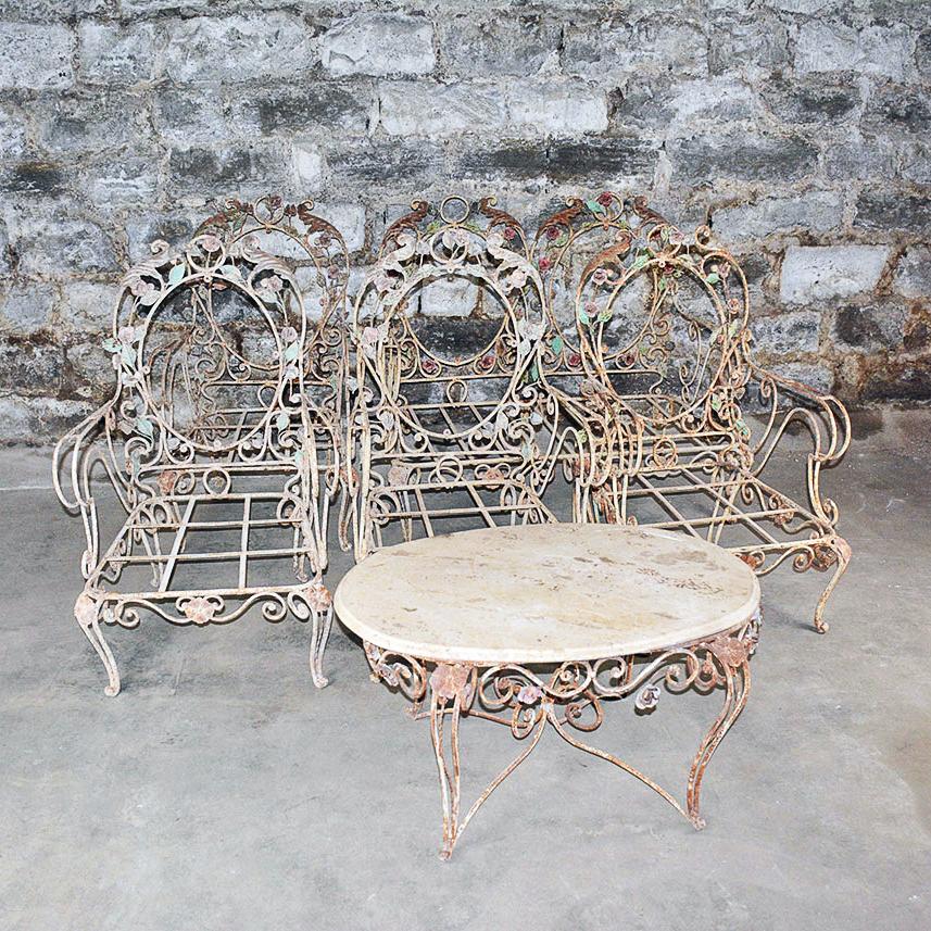 vintage outdoor wrought iron patio furniture set