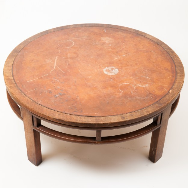 vintage coffee table with leather tophenredon : ebth