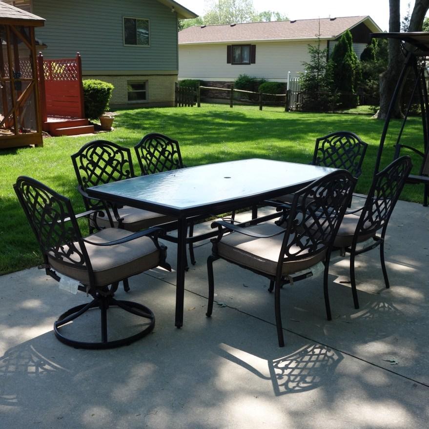 Martha Stewart Living Patio Glass Top Table & Six Chairs ... on Martha Stewart 6 Piece Patio Set id=59817