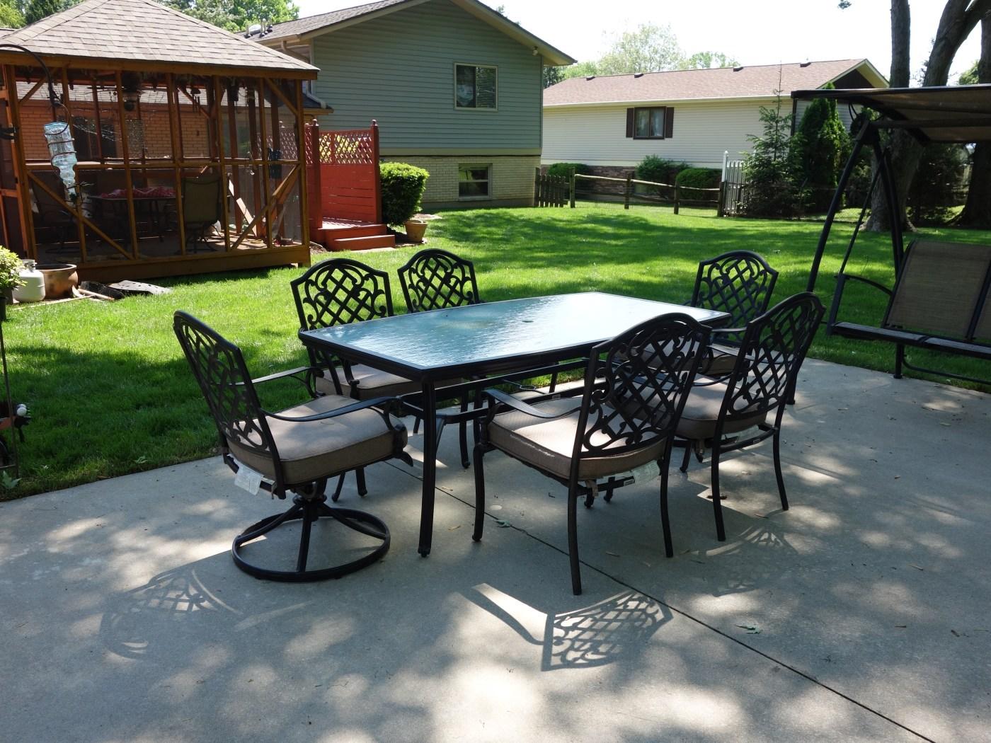 Martha Stewart Living Patio Glass Top Table & Six Chairs ... on Martha Stewart 6 Piece Patio Set id=35272