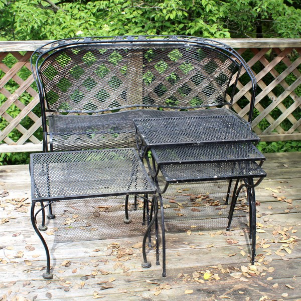 Wrought Iron Patio Loveseat  Side Table  and Nesting Tables   EBTH Wrought Iron Patio Loveseat  Side Table  and Nesting Tables
