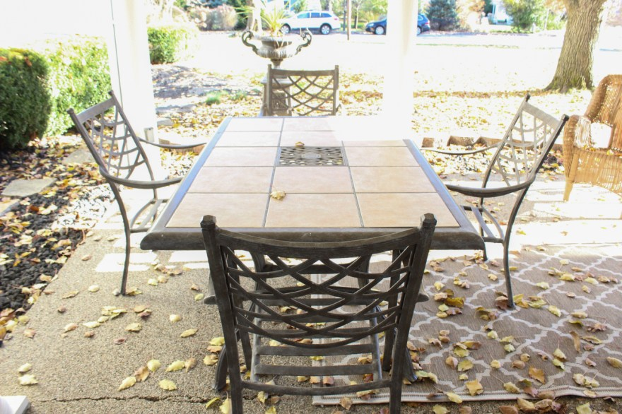 cast aluminum and ceramic tile patio table and chairs