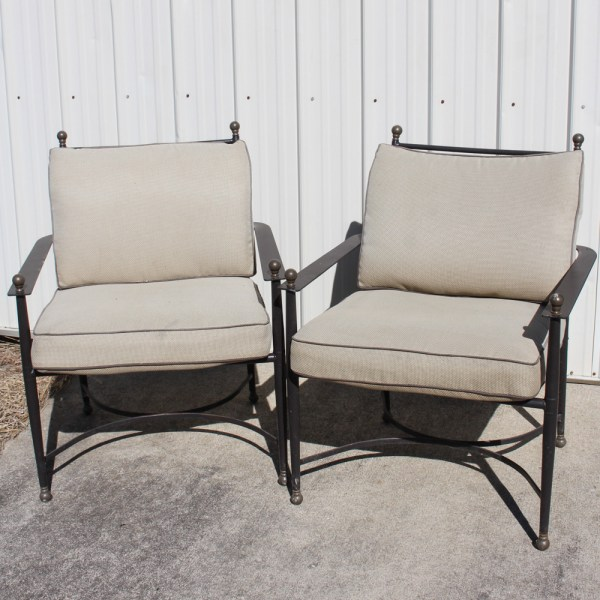 Pair of Metal Frame Patio Chairs   EBTH Pair of Metal Frame Patio Chairs
