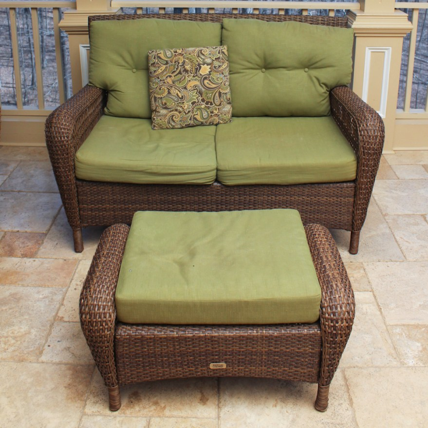 Martha Stewart Living Wicker Patio Loveseat and Ottoman : EBTH on Martha Stewart Wicker Patio Set id=65349