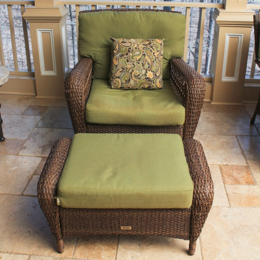 Martha Stewart Living Wicker Patio Armchair and Ottoman | EBTH on Martha Stewart Wicker Patio Set id=62944
