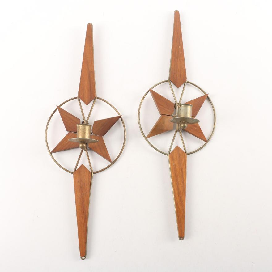 Mid Century Modern Wood and Gold Tone Metal Candle Wall ... on Mid Century Modern Sconces id=67220