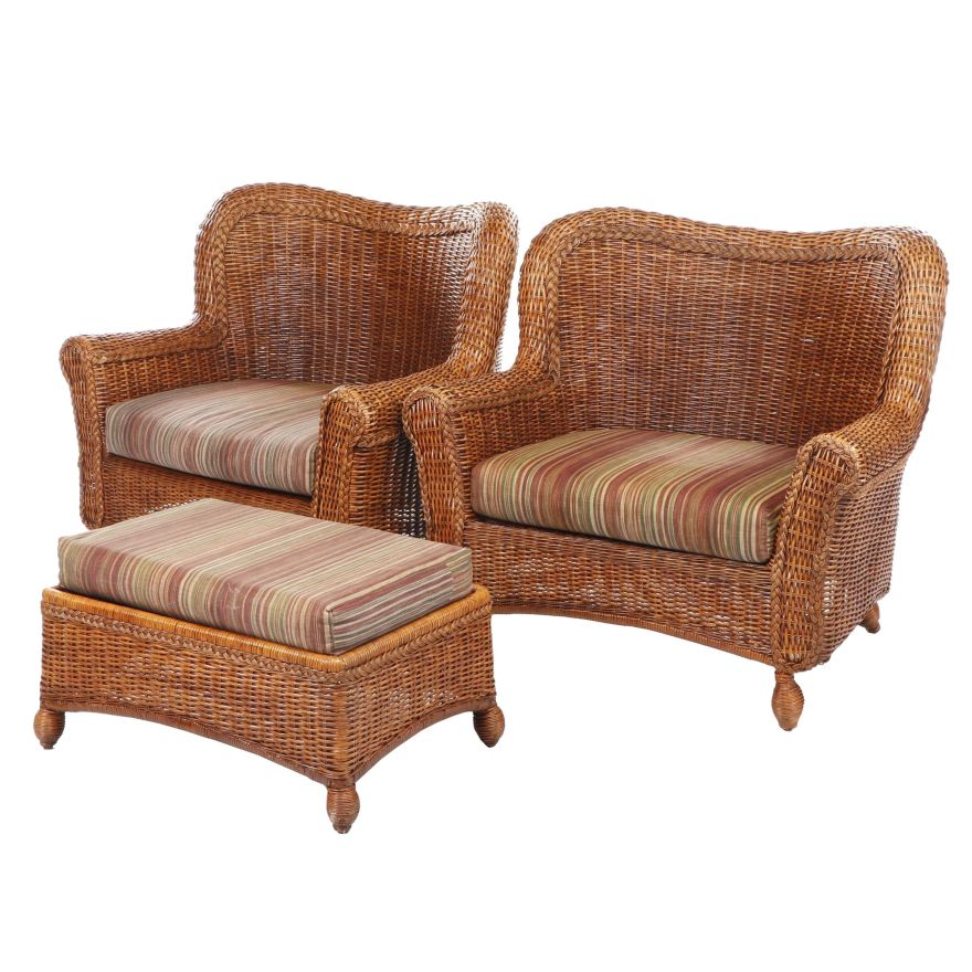 pier 1 oversized woven wicker patio chairs with ottoman late 20th century