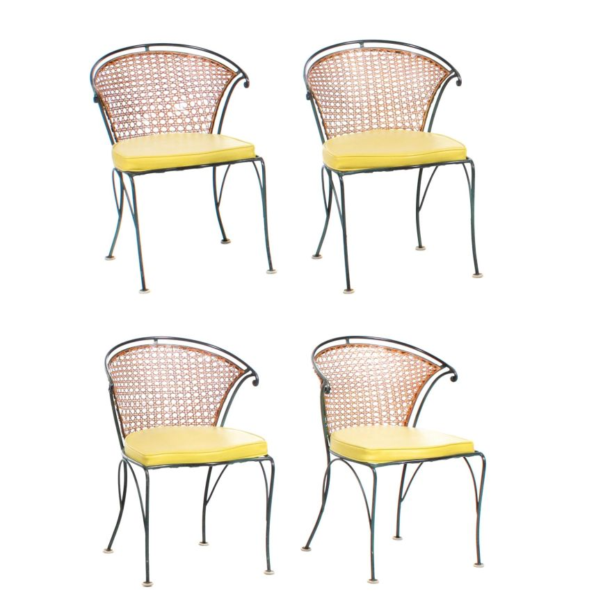 cane back metal patio chairs with yellow vinyl cushions
