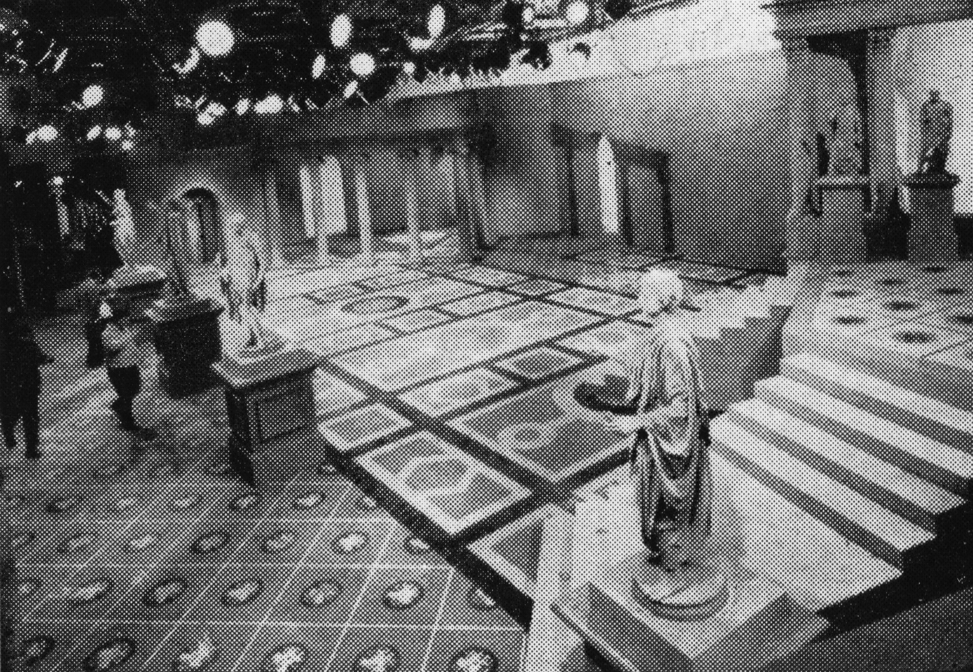 Roman-style statues stand in a television studio
