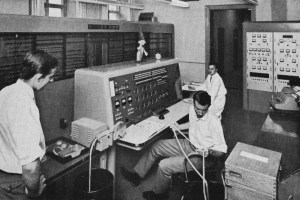 A massive mainframe computer and console