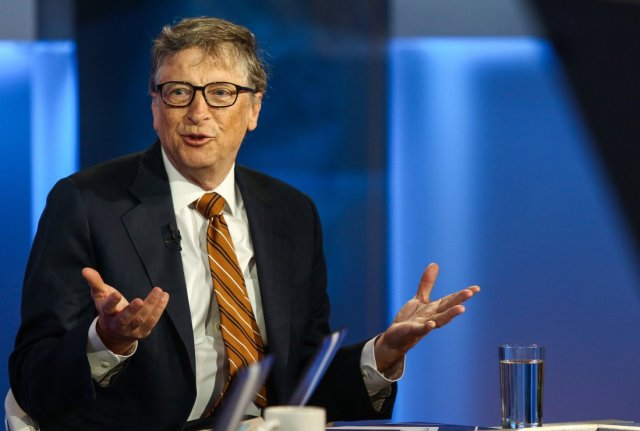 Bill Gates, co-founder of the Bill & Melinda Gates Foundation, speaks during a Bloomberg Television interview in New York, U.S., on Tuesday, Feb. 23, 2016. Gates, also a co-founder of Microsoft spoke about his view of Apple's battle against an FBI court order to unlock an iPhone belonging to a shooter involved in the San Bernardino, California terror attack and the need for a balance between privacy and government access. Photographer: Chris Goodney/Bloomberg via Getty Images