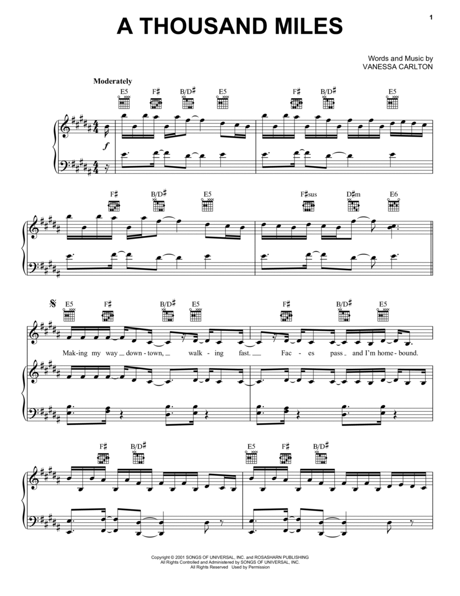 Thousand Miles Chords In Piano