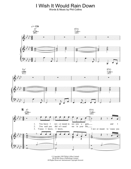 Download I Wish It Would Rain Down Sheet Music By Phil ...