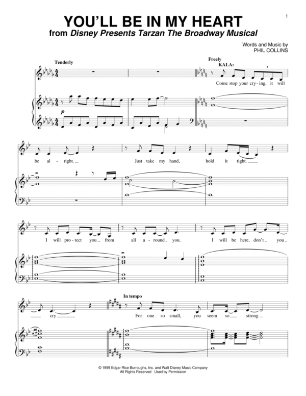 Download You'll Be In My Heart Sheet Music By Phil Collins ...