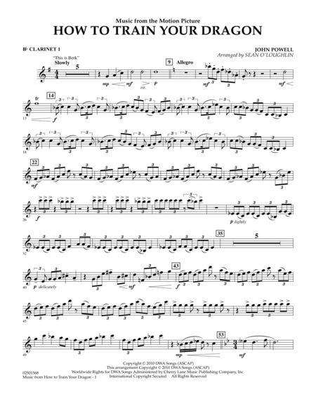 How to train your dragon orchestra how to music from how to train your dragon bb clarinet 1 sheet ccuart Gallery