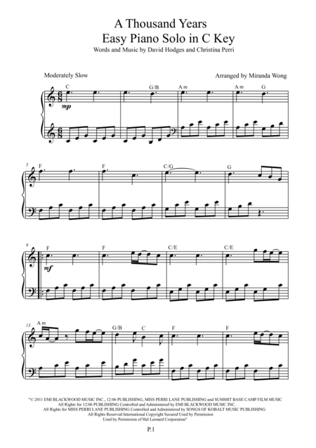 A Thousand Years Chords Cello