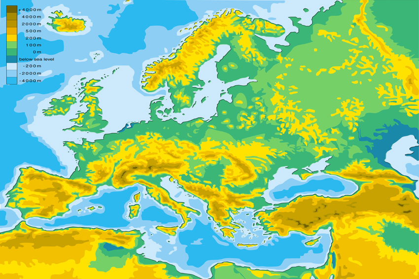 Map Of Europe With Elevations Free Download Oasis Dl Co