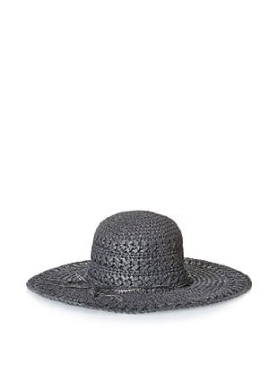 August Accessories Women's Crochet Floppy Hat, Black