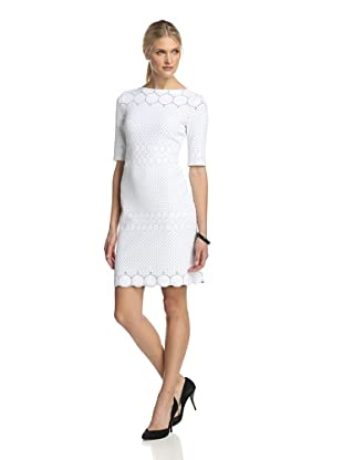 Julia Jordan Dresses Women's Rio Knit 3/4 Sleeve Body Con with Scalloped Hem (White/Black)