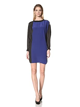 DEREK LAM Women's Colorblock Crepe de Chine Dress (Blue/Black/Grey)