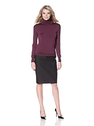 Pink Tartan Women's Turtleneck with Pointelle Detail (Plum)