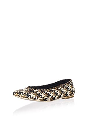 Plenty by Tracy Reese Women's Emely Ballet Flat (Gold/Black/Ivory)