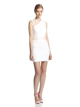 LaPINA Women's Samantha Sheer Top Sleeveless Dress (White/white)