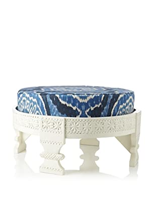 Jamie Young Turkish Ottoman with Cushion, White/Navy