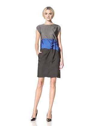DEREK LAM Women's Colorblock Twill Dress (Slate/Black/Scuba)