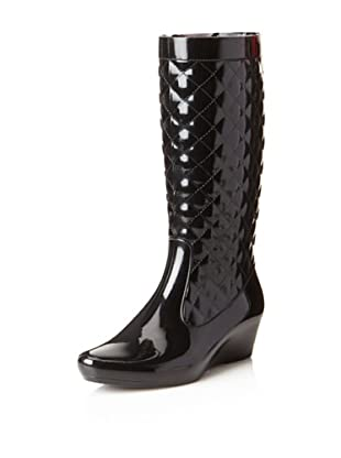 däv Women's Quilted Wedge Rain Boot (Black)