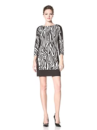 Donna Morgan Women's Printed Shift Dress (Winter White/Black)