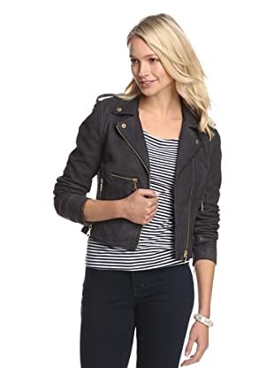 Members Only by Rebecca Eve Women's Seamed Leather Moto Jacket (Navy)