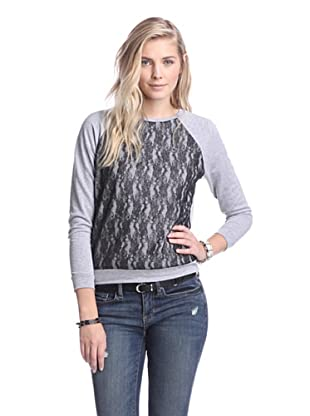 Supply & Demand Women's Sweatshirt with Lace Front (Heather/Metallic Lace)